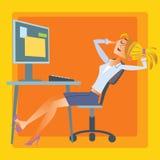 Ordenador de reclinación de la oficina de la muchacha Imagen de archivo