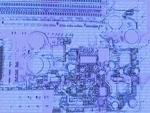 Ordenador de tablero azul abstracto de madre con código digital ilustración del vector