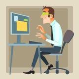 Ordenador de trabajo de la oficina del hombre Imagen de archivo libre de regalías
