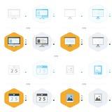 Ordenador del diseño del icono 4 de la oficina, presentación, calendario, imagen Fotos de archivo libres de regalías