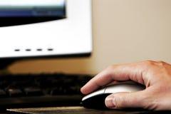 Ordenador del ratón de la mano Fotos de archivo