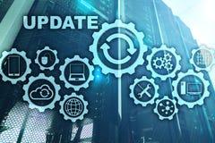 Ordenador del software de la actualizaci?n en el fondo de Datacenter del sitio del servidor de la pantalla virtual Tecnolog?a que ilustración del vector