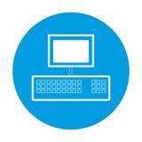 Ordenador en anillo azul en el fondo blanco Fotos de archivo libres de regalías
