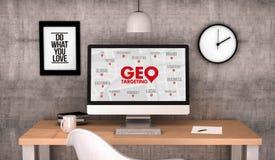 Ordenador Geo del espacio de trabajo que apunta estrategia Fotos de archivo