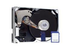 Ordenador harddrive y tarjeta del SD Fotos de archivo