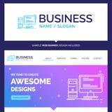 Ordenador hermoso de la marca del concepto del negocio, mesa, juego ilustración del vector