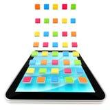 Ordenador móvil de la pista con aplicaciones Fotos de archivo libres de regalías