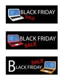 Ordenador móvil en fondo de la venta de Black Friday Fotografía de archivo