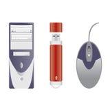 Ordenador, memoria Flash y ratón del ordenador Imagen de archivo