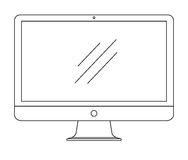 Ordenador, monitor aislado en el fondo blanco Ilustración del vector Imágenes de archivo libres de regalías