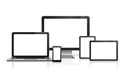 Ordenador, ordenador portátil, teléfono móvil y PC digital de la tableta Foto de archivo