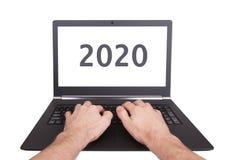 Ordenador portátil aislado - Año Nuevo - 2020 Imágenes de archivo libres de regalías