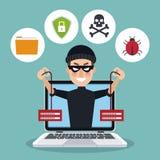 Ordenador portátil azul del fondo del color con el ladrón del pirata informático sosteniendo los servidores Fotografía de archivo libre de regalías