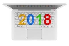 Ordenador portátil blanco con la muestra del Año Nuevo 2018 representación 3d Fotografía de archivo libre de regalías