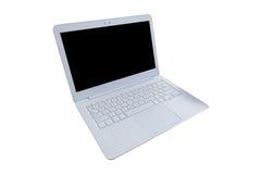 Ordenador portátil blanco moderno, ratón, mano en la tabla de madera, workin Imagen de archivo libre de regalías