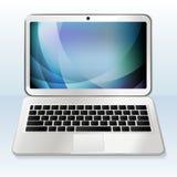 Ordenador portátil blanco realista con el papel pintado azul en un fondo blanco Stock de ilustración