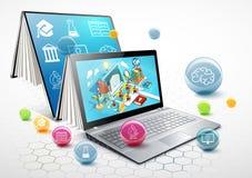 Ordenador portátil como libro El concepto de aprendizaje Educación en línea Vector ilustración del vector