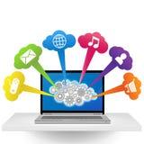 Ordenador portátil con aplicaciones Foto de archivo libre de regalías