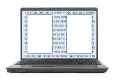 Ordenador portátil con código binario abstracto y el espacio en blanco imagen de archivo
