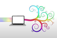 Ordenador portátil con diseño espiral colorido Imagen de archivo libre de regalías