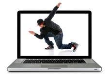 Ordenador portátil con el bailarín de Hip Hop Imagenes de archivo