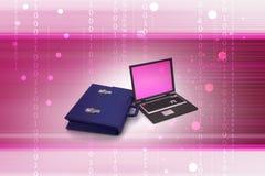 Ordenador portátil con el bolso Foto de archivo