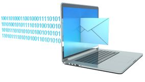 Ordenador portátil con el correo entrante Fotos de archivo libres de regalías