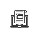 Ordenador portátil con el documento, línea icono, muestra del vector del esquema, pictograma linear de la factura aislado en blan ilustración del vector