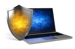 Ordenador portátil con el escudo de la protección Imágenes de archivo libres de regalías