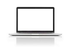 Ordenador portátil con el espacio en blanco en el fondo blanco Imagen de archivo