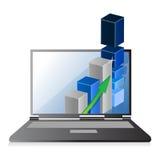 Ordenador portátil con el gráfico de barra del crecimiento del negocio o de beneficios Foto de archivo libre de regalías