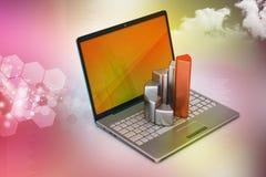 Ordenador portátil con el gráfico financiero Imagenes de archivo