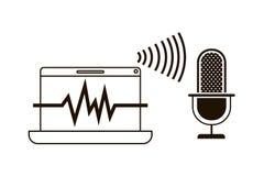 Ordenador portátil con el icono auxiliar de la voz stock de ilustración