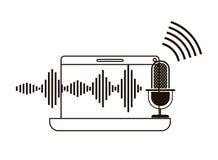 Ordenador portátil con el icono auxiliar de la voz libre illustration
