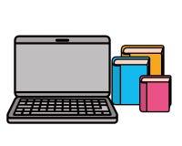 Ordenador portátil con el icono de los libros de la biblioteca stock de ilustración