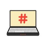 Ordenador portátil con el icono del hashtag en la pantalla Imagen de archivo