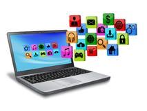 Ordenador portátil con el icono del uso stock de ilustración