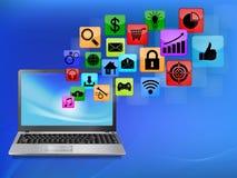 Ordenador portátil con el icono del uso libre illustration