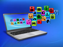 Ordenador portátil con el icono del uso Imagen de archivo