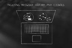 Ordenador portátil con el reloj de arena y las galletas de la historia del navegador a suprimir Imagen de archivo libre de regalías