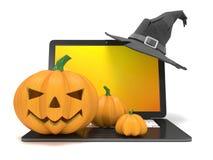 Ordenador portátil con el sombrero de Jack O de la bruja divertida de la linterna y de Halloween 3d rinden Imagen de archivo