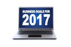 Ordenador portátil con el texto de las metas de negocio para 2017 Fotos de archivo libres de regalías
