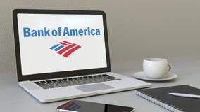 Ordenador portátil con la Bank of America el logotipo en la pantalla Representación conceptual del editorial 3D del lugar de trab Ilustración del Vector