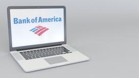 Ordenador portátil con la Bank of America el logotipo Representación conceptual del editorial 3D de la informática Fotos de archivo