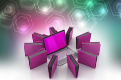 Ordenador portátil con la carpeta de archivos Fotos de archivo