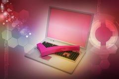 Ordenador portátil con la marca correcta Fotografía de archivo libre de regalías