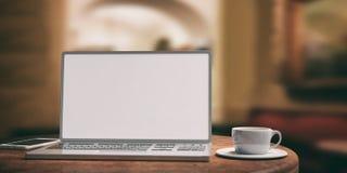 Ordenador portátil con la pantalla blanca en una tabla de madera Fondo borroso de la cafetería ilustración 3D Fotos de archivo