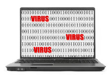 Ordenador portátil con la pantalla del virus en el fondo blanco imagen de archivo libre de regalías