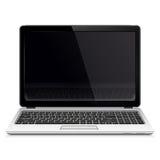 Ordenador portátil con la pantalla en blanco aislada en el fondo blanco Imágenes de archivo libres de regalías