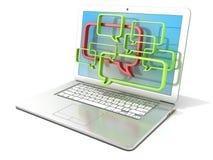 Ordenador portátil con las burbujas del discurso Concepto de comunicaciones de los blogs y de los foros de Internet Foto de archivo libre de regalías